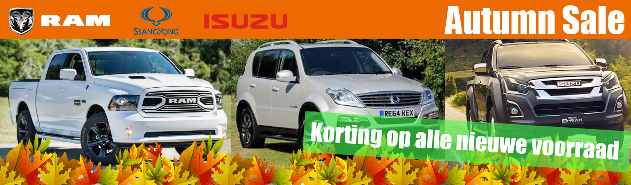 Dodge Ram, Ssangyong en Isuzu Autumn sale